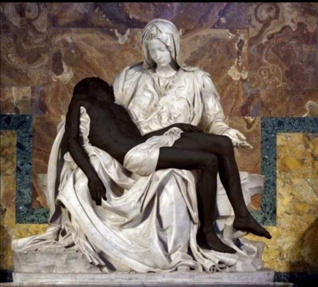 Pieta statue with black Jesus