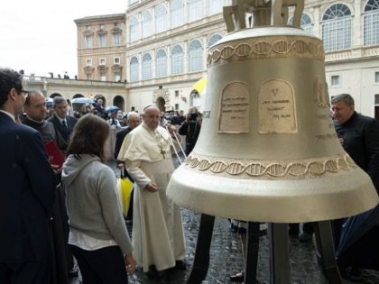 Pope Francis blesses large pro-life bell.