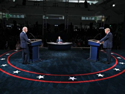 CLEVELAND, OHIO - SEPTEMBER 29: U.S. President Donald Trump and Democratic presidential nominee Joe Biden participate in the first presidential debate at the Health Education Campus of Case Western Reserve University on September 29, 2020 in Cleveland, Ohio. This is the first of three planned debates between the two candidates …