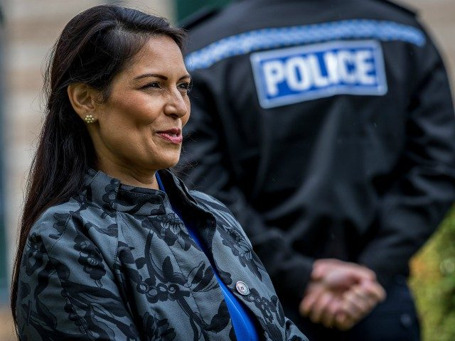 Britain's Home Secretary Priti Patel visits the North Yorkshire Police headquarters in Northallerton, northeast England on July 30, 2020. (Photo by Charlotte Graham / POOL / AFP) (Photo by CHARLOTTE GRAHAM/POOL/AFP via Getty Images)
