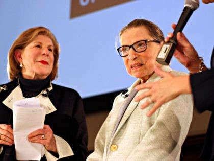NPR's Nina Totenberg, left, and U.S. Supreme Court Justice Ruth Bader Ginsburg are thanked by Whitney W. Donhauser, president of the Museum of the City of New York, after participating in the David Berg Distinguished Speakers Series Saturday, Dec. 15, 2018, in New York. NPR legal correspondent Totenberg led a …