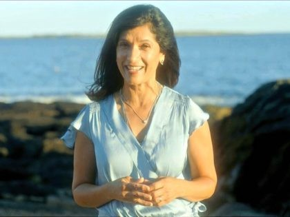 n this image from video, Sara Gideon, Speaker of the Maine House of Representatives, speaks from Scarborough, Maine, during the first night of the Democratic National Convention on Monday, Aug. 17, 2020. (Democratic National Convention via AP)