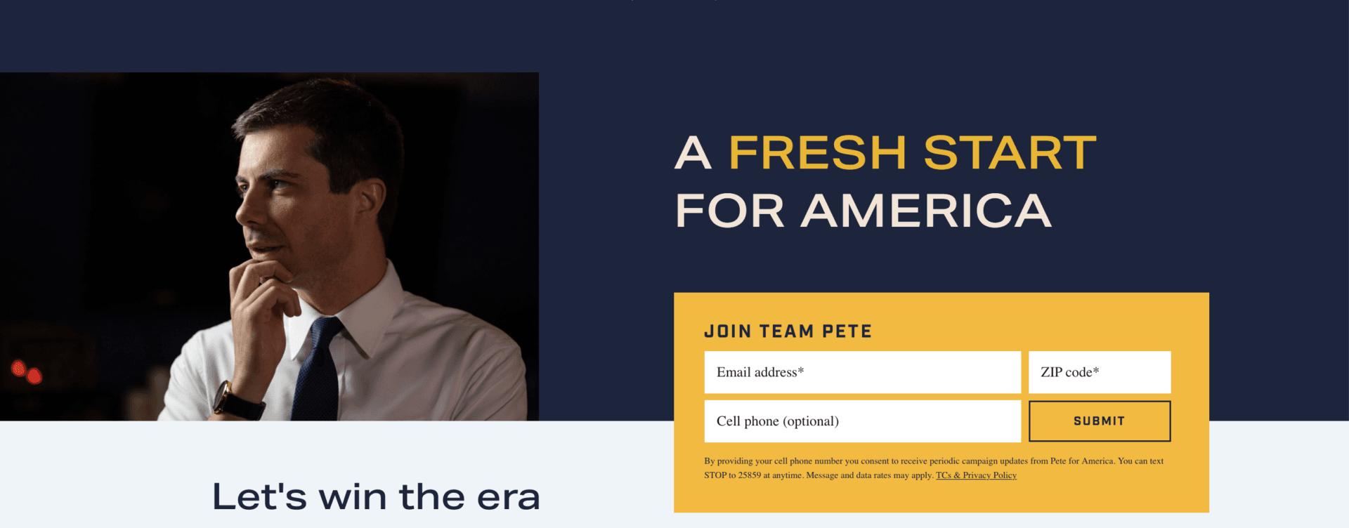 Pete Buttigieg campaign website (Screenshot / Internet Archive)