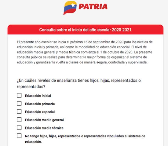 Fatherland System poll in Venezuela on schooling