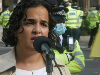 Labour Party MP Nadia Whittome at an Extinction Rebellion protest in London on September 1st, 2020