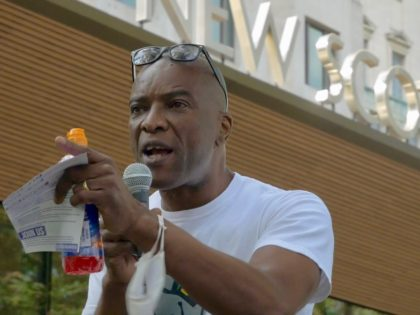 Stafford Scott at a Black Lives Matter UK protest outside Scotland Yard on September 12, 2020.