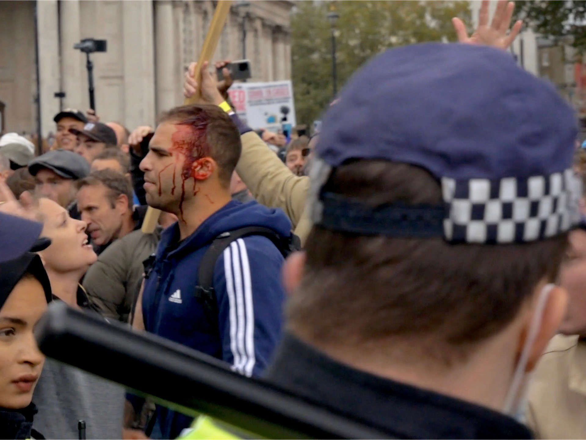 Ten arrested and four officers injured as London anti-lockdown rally cleared