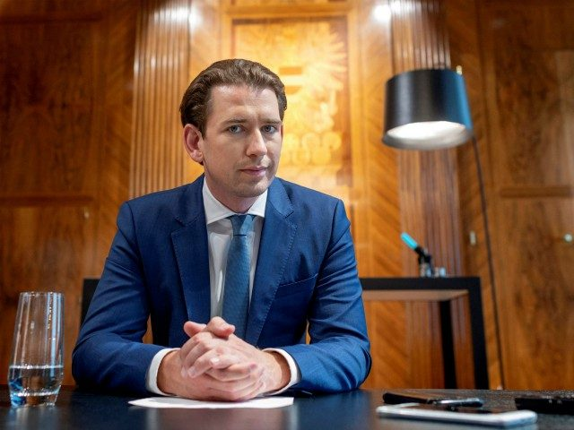 Austrian chancelllor Sebastian Kurz listens during an interview with AFP journalists on September 22, 2020 in his office at the chancellery in Vienna, Austria. (Photo by JOE KLAMAR / AFP) (Photo by JOE KLAMAR/AFP via Getty Images)