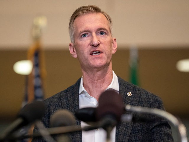 PORTLAND, OR - AUGUST 30: Portland Mayor Ted Wheeler speaks to the media at City Hall on August 30, 2020 in Portland, Oregon. A man was fatally shot Saturday night as a Pro-Trump rally clashed with Black Lives Matter protesters in downtown Portland. (Photo by Nathan Howard/Getty Images)