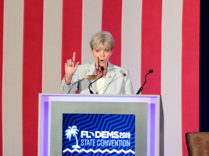 Terrie Rizzo chair of the Florida Democratic Party speaks during the general assembly at the state convention Saturday, Oct. 12, 2019, in Lake Buena Vista, Fla. (AP Photo/John Raoux)