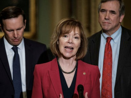 WASHINGTON, DC - APRIL 30: Senator Tina Smith (D-MN) speaks to the media following their weekly policy luncheon on April 30, 2019 in Washington, DC. Congress is back in session this week after a two week spring break. (Photo by Pete Marovich/Getty Images)