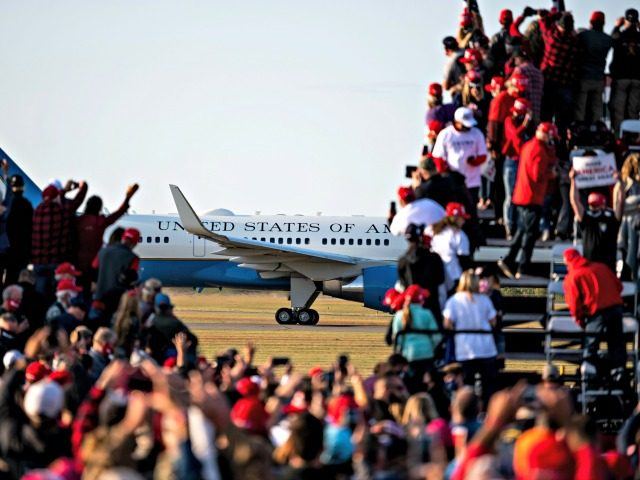 BEMIDJI, MN - SEPTEMBER 18: President Donald Trump arrives on Air Force One for a campaign rally at the Bemidji Regional Airport on September 18, 2020 in Bemidji, Minnesota. Trump and challenger, Democratic presidential nominee and former Vice President Joe Biden, are both campaigning in Minnesota today. (Photo by Stephen …