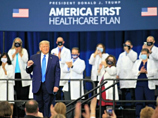 CHARLOTTE, NC - SEPTEMBER 24: US President Donald Trump makes his way off stage after signing an executive order following his remarks on his healthcare policies on September 24, 2020 in Charlotte, North Carolina. Trump's trip to North Carolina marks his fifth time in the state within the last 30 …
