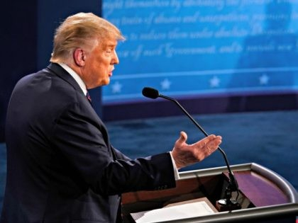 CLEVELAND, OHIO - SEPTEMBER 29: U.S. President Donald Trump speaks during the first presidential debate against former Vice President and Democratic presidential nominee Joe Biden at the Health Education Campus of Case Western Reserve University on September 29, 2020 in Cleveland, Ohio. This is the first of three planned debates …
