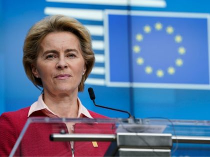 President of the European Commission Ursula von der Leyen addresses the press ending the second day special European Council summit in Brussels on February 21, 2020. - Time was called on the summit after two days and a night of talks that failed to narrow stubborn differences between a handful …