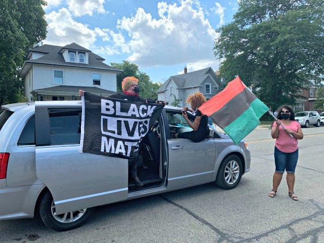 Van with BLM Flag