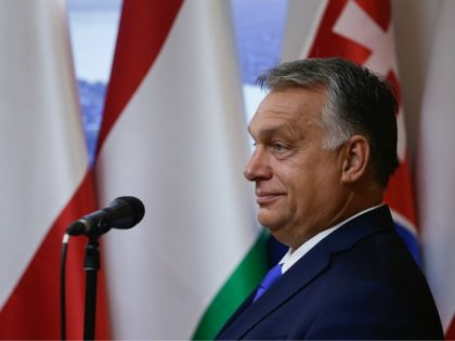 Hungarian Prime Minister Viktor Orban speaks during a press conference with his Polish and Czech counterparts at the Polish permanent representation in Brussels on September 24, 2020 after talks with top EU officials as the bloc tries to reform asylum rules five years after the continent was engulfed by a …