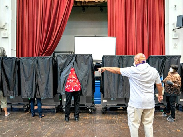 PHILADELPHIA, PA - JUNE 02: Voters cast ballots in primary elections on June 2, 2020 in Philadelphia, Pennsylvania. Voters in seven states are casting ballots in House Primaries today amid a coronavirus outbreak that has killed more than 103,000 people in the U.S. and the harshest downturn for American workers …