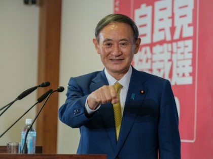 Newly elected head of Liberal Democratic Party Yoshihide Suga gestures before a press conference at its headquarters after the party's leadership election in Tokyo Monday, Sept. 14, 2020. Suga was elected as the new head of Japan's ruling party on Monday, all but assuring that he will become the country's …