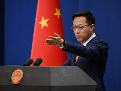 Chinese Foreign Ministry spokesman Zhao Lijian takes a question at the daily media briefing in Beijing on April 8, 2020. (Photo by GREG BAKER / AFP) (Photo by GREG BAKER/AFP via Getty Images)