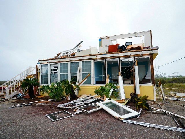 The business of Joe and Teresa Mirable is seen after Hurricane Sally moved through the area, Wednesday, Sept. 16, 2020, in Perdido Key, Fla. Hurricane Sally made landfall Wednesday near Gulf Shores, Alabama, as a Category 2 storm, pushing a surge of ocean water onto the coast and dumping torrential rain that forecasters said would cause dangerous flooding from the Florida Panhandle to Mississippi and well inland in the days ahead. (AP Photo/Gerald Herbert)