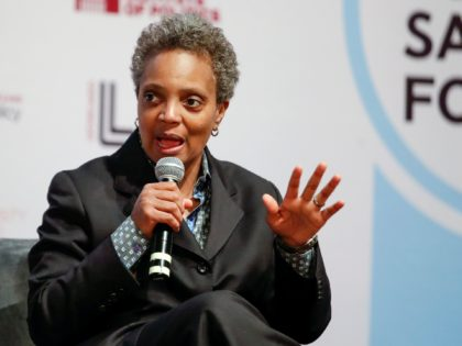 Chicago mayoral candidate Lori Lightfoot speaks during a forum on crime and violence at University of Chicago Institute of Politics, Harris School of Public Policy and Crime Lab in Chicago on March 13, 2019. (Photo by Kamil Krzaczynski / AFP) (Photo by KAMIL KRZACZYNSKI/AFP via Getty Images)