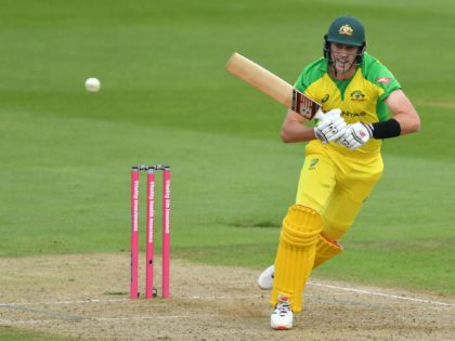 Australia's Pat Cummins plays a shot during the international Twenty20 cricket match between England and Australia at the Ageas Bowl in Southampton, southern England on September 6, 2020. (Photo by Dan Mullan / POOL / AFP) / RESTRICTED TO EDITORIAL USE. NO ASSOCIATION WITH DIRECT COMPETITOR OF SPONSOR, PARTNER, OR …
