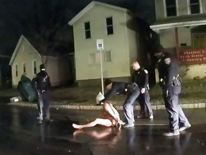 In this image taken from police body camera video provided by Roth and Roth LLP, Rochester police officers hold down Daniel Prude on March 23, 2020, in Rochester, N.Y. Prude, a Black man who had run naked through the streets of the western New York city, died of asphyxiation after …