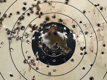 WALLINGFORD, CT - FEBRUARY 24: A shooitng target is full of bullet holes at a class taught by King 33 Training at a shooting range on February 24, 2013 in Wallingford, Connecticut. King 33 Training, a company that trains and educates individuals on the safe and proper use of guns …