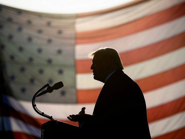 "US President Donald Trump speaks during a ""Great American Comeback"" rally at Bemidji Regional Airport in Bemidji, Minnesota, on September 18, 2020. (Photo by Brendan Smialowski / AFP) (Photo by BRENDAN SMIALOWSKI/AFP via Getty Images)"