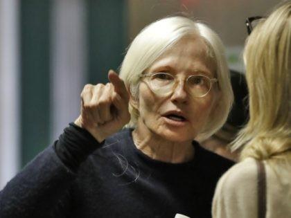 Actress Ellen Barkin waits to attend the rape trial of Harvey Weinstein, Thursday, Jan. 23, 2020, in New York. (AP Photo/Richard Drew)