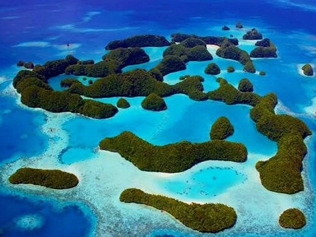 An undated handout photo received on October 28, 2015, shows Palau's Rock Islands as the tiny Pacific island nation of Palau on October 28, created one of the world's largest marine sanctuaries, saying it wanted to restore the ocean for future generations. At 500,000 square kilometres (193,000 square miles), the …