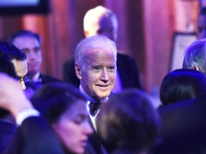 NEW YORK, NY - MAY 26: Recipient of The 2016 Intrepid Freedom Award, United States Vice President Joe Biden greets guests at the Salute To Freedom 25th Anniversary Gala at Intrepid Sea-Air-Space Museum on May 26, 2016 in New York City. (Photo by Nicholas Hunt/Getty Images)