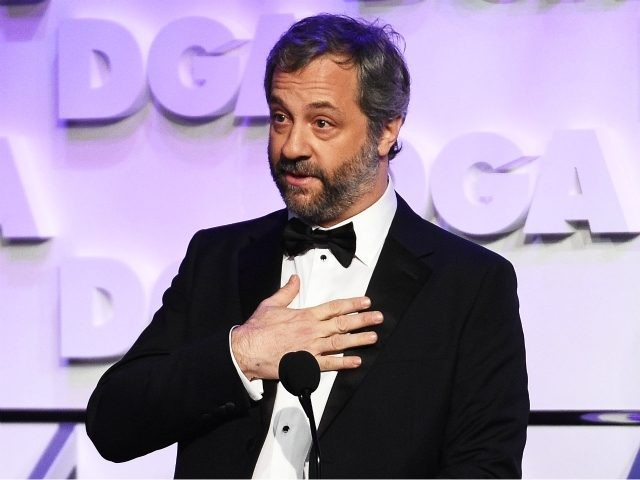 BEVERLY HILLS, CA - FEBRUARY 03: Host Judd Apatow speaks onstage during the 70th Annual Directors Guild Of America Awards at The Beverly Hilton Hotel on February 3, 2018 in Beverly Hills, California. (Photo by Kevork Djansezian/Getty Images for DGA)