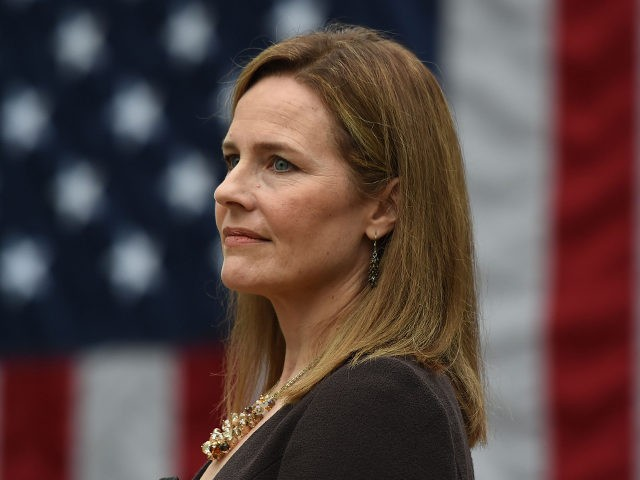Judge Amy Coney Barrett is nominated to the US Supreme Court by President Donald Trump in the Rose Garden of the White House in Washington, DC on September 26, 2020. - Barrett, if confirmed by the US Senate, will replace Justice Ruth Bader Ginsburg, who died on September 18. (Photo …