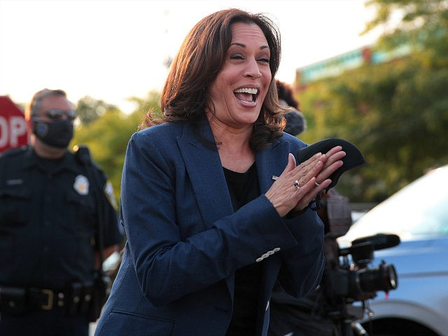 MILWAUKEE, WISCONSIN - SEPTEMBER 07: Democratic Vice Presidential Nominee Sen. Kamala Harris (D-CA) greets supporters gathered outside following a roundtable event with Black business owners on September 7, 2020 in Milwaukee, Wisconsin. Earlier in the day, Harris toured an International Brotherhood of Electrical Workers (IBEW) training facility and met with …