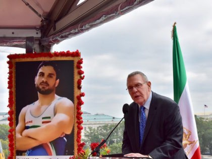 The free Iran summit included a memorial to Navid Afkari, an Iranian wrestler who was executed for protesting against the Iranian regime. (Penny Starr/Breitbart News)