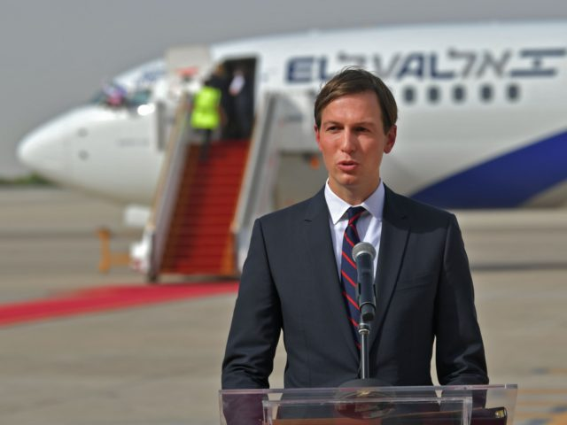 US Presidential Adviser Jared Kushner speaks in front of an air-plane of El Al at the Abu Dhabi airport, following the arrival of the the first-ever commercial flight from Israel to the UAE, on August 31, 2020. - A US-Israeli delegation including White House advisor Jared Kushner took off on …