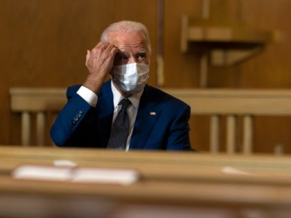 Democratic presidential candidate former Vice President Joe Biden listens during a community event at Grace Lutheran Church in Kenosha Wis., Thursday, Sept. 3, 2020. (AP Photo/Carolyn Kaster)
