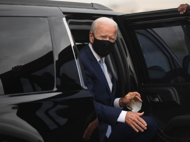 "Democratic presidential nominee former US Vice President Joe Biden arrives to board an airplane at New Castle Airport in New Castle, Delaware, August 31, 2020, as he travels to Pennsylvania for campaign events. - Democratic White House hopeful Joe Biden on Monday castigated President Donald Trump as a ""weak"" and …"
