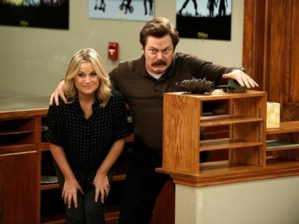 Nick Offerman and Amy Poehler in Parks and Recreation (2009) Titles: Parks and Recreation, Leslie and Ron People: Nick Offerman, Amy Poehler Photo by NBC/Tyler Golden - © 2014 NBCUniversal Media, LLC