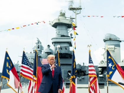 President Donald J. Trump delivers remarks designating Wilmington, N.C. as the first American World War II heritage city Tuesday, Sept. 2, 2020, at the Battleship North Carolina in Wilmington, N.C. (Official White House Photo by Shealah Craighead)