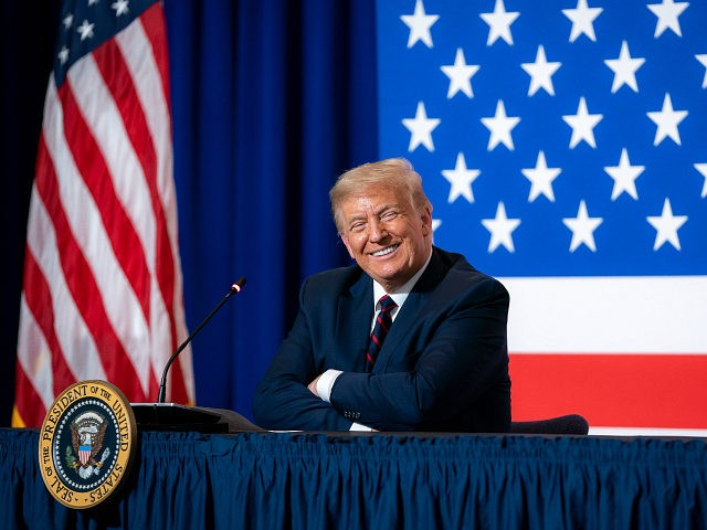 President Donald J. Trump participates at a roundtable on donating plasma Thursday, July 30, 2020, at the American Red Cross-National Headquarters in Washington, D.C. (Official White House Photo by Tia Dufour)