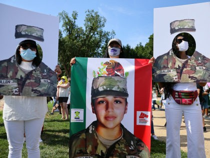 WASHINGTON, DC - JULY 30: Family, friends and supporters of murdered U.S. Army Private First Class Vanessa Guillen rally on the National Mall to call for justice and for Congress to investigate her death July 30, 2020 in Washington, DC. Guillen went missing from her post at Fort Hood, Texas, …