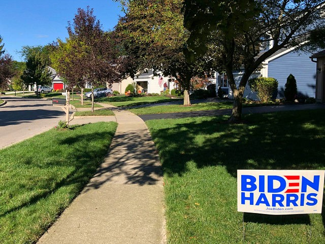 A Biden for President sign in a lawn of suburban Dublin, Ohio, on Friday, Sept. 18, 2020. In the campaign for House control, some districts are seeing a fight between Democrats saying they'll protect voters from Republicans willing to take their health coverage away, while GOP candidates are raising specters …