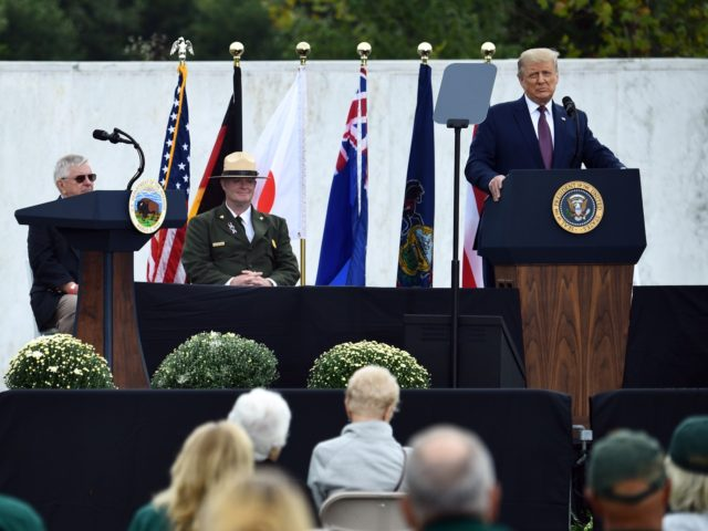 US President Donald Trump speaks at a ceremony commemorating the 19th anniversary of the 9/11 attacks, in Shanksville, Pennsylvania, on September 11, 2020. (Photo by Brendan Smialowski / AFP) (Photo by BRENDAN SMIALOWSKI/AFP via Getty Images)