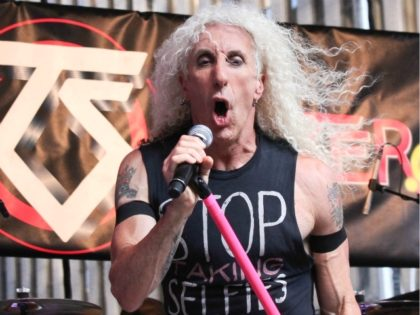 "NEW YORK, NY - JULY 25: Dee Snider of Twisted Sister performs during ""FOX & Friends"" All American Concert Series outside of FOX Studios on July 25, 2014 in New York City. (Photo by Rob Kim/Getty Images)"