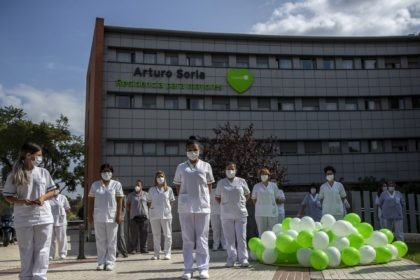 "Workers of a nursing home ""DomusVi Arturo Soria"" hold a minute of silence in support of the social and health sector and its workers in Madrid, Spain, Tuesday, Sept. 15, 2020. After ending a strict lockdown in June having brought under control the virus transmission, Spain is now the European …"