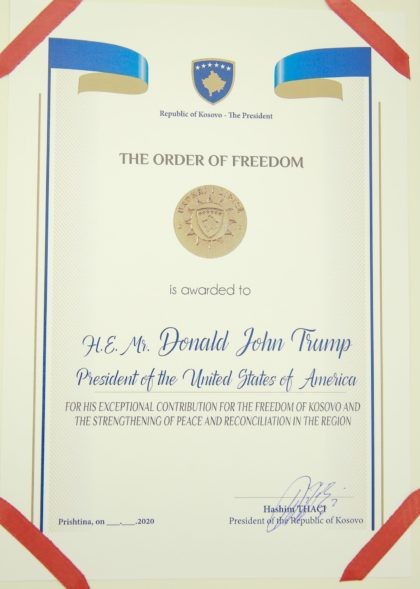 A photo of the Order of Freedom awarded to the U.S President Donald Trump, undersigned by Kosovo's President Hashim Thaci in capital Pristina, Kosovo on Friday, Sept. 18, 2020. Kosovo's president awarded U.S. President Donald Trump with one of the country's highest medals - Kosovo's Order of Freedom - for …