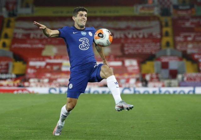 In this Wednesday, July 22, 2020 file photo, Chelsea's Christian Pulisic controls the ball during the English Premier League soccer match between Liverpool and Chelsea at Anfield Stadium in Liverpool, England. Frank Lampard's squad has certainly seen the most intriguing changes ahead of the new campaign - having been banned …